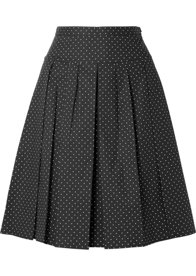 Michael Kors Pleated Polka-dot Stretch-cotton Poplin Skirt