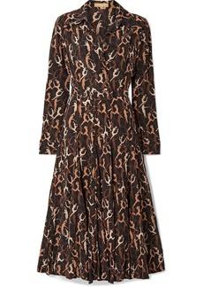 Michael Kors Pleated Printed Silk Crepe De Chine Midi Dress