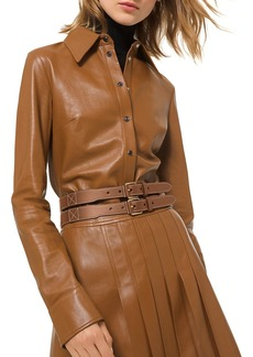 Michael Kors Plongé Leather Button Down Shirt