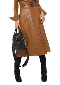 Michael Kors Plongé Leather Pleated Skirt