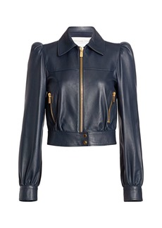 Michael Kors Plongé Leather Puff-Sleeve Cropped Moto Jacket