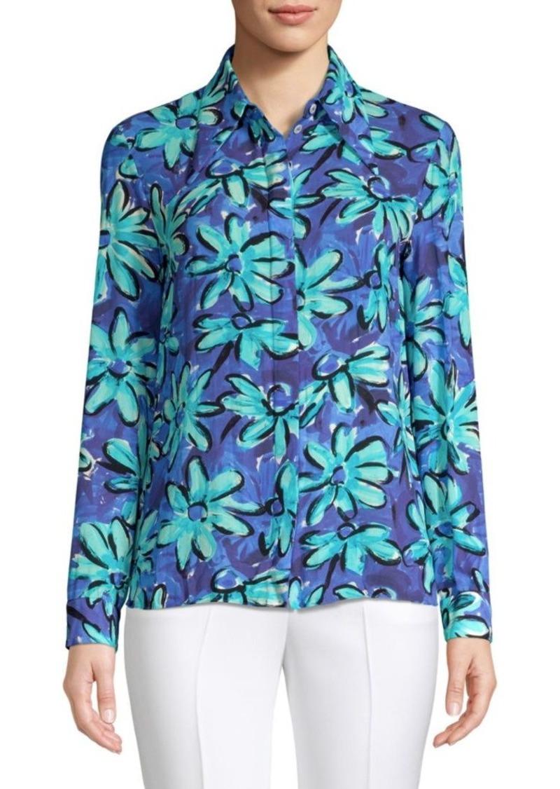 Michael Kors Point Collar Floral Silk Shirt