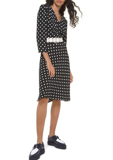 Michael Kors Polka-Dot Belted V-Neck Flared Dress