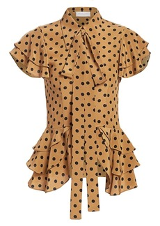 Michael Kors Polka Dot Peplum Ruffled Blouse