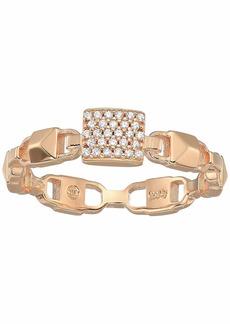 Michael Kors Precious Metal-Plated Sterling Silver Mercer Link Pavé Center Ring