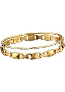 Michael Kors Precious Metal-Plated Sterling Silver Mercer Link Pavé Halo Bangle Bracelet