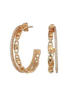Michael Kors Precious Metal-Plated Sterling Silver Mercer Link Pavé Halo Hoops Earrings