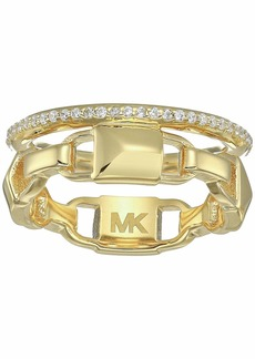 Michael Kors Precious Metal-Plated Sterling Silver Mercer Link Pavé Halo Ring