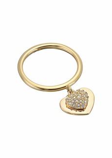 Michael Kors Precious Metal-Plated Sterling Silver Pavé Heart Ring