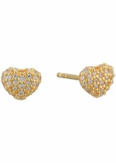 Michael Kors Precious Metal-Plated Sterling Silver Pavé Heart Studs Earrings