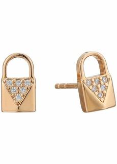 Michael Kors Precious Metal-Plated Sterling Silver Pavé Lock Studs Earrings