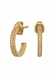 Michael Kors Precious Metal-Plated Sterling Silver Pavé Mini Hoops Earrings