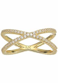 Michael Kors Precious Metal-Plated Sterling Silver Pavé Nesting Ring