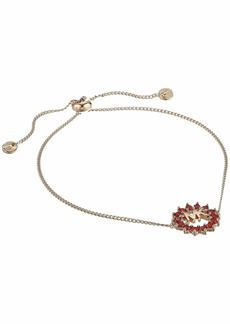 Michael Kors Precious Metal-Plated Sterling Silver Pavé Round Logo Charm Bracelet
