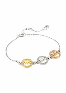 Michael Kors Precious Metal-Plated Sterling Silver Pavé Tri-Logo Bracelet