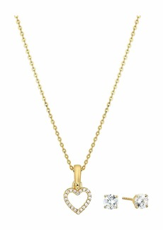 Michael Kors Precious Metal-Plated Sterling Silver Pave Heart Necklace and Earrings Set