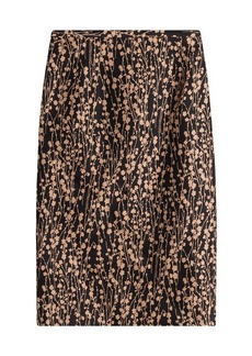 Michael Kors Printed Cotton Skirt with Silk