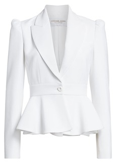 Michael Kors Puff-Shoulder Peplum Jacket