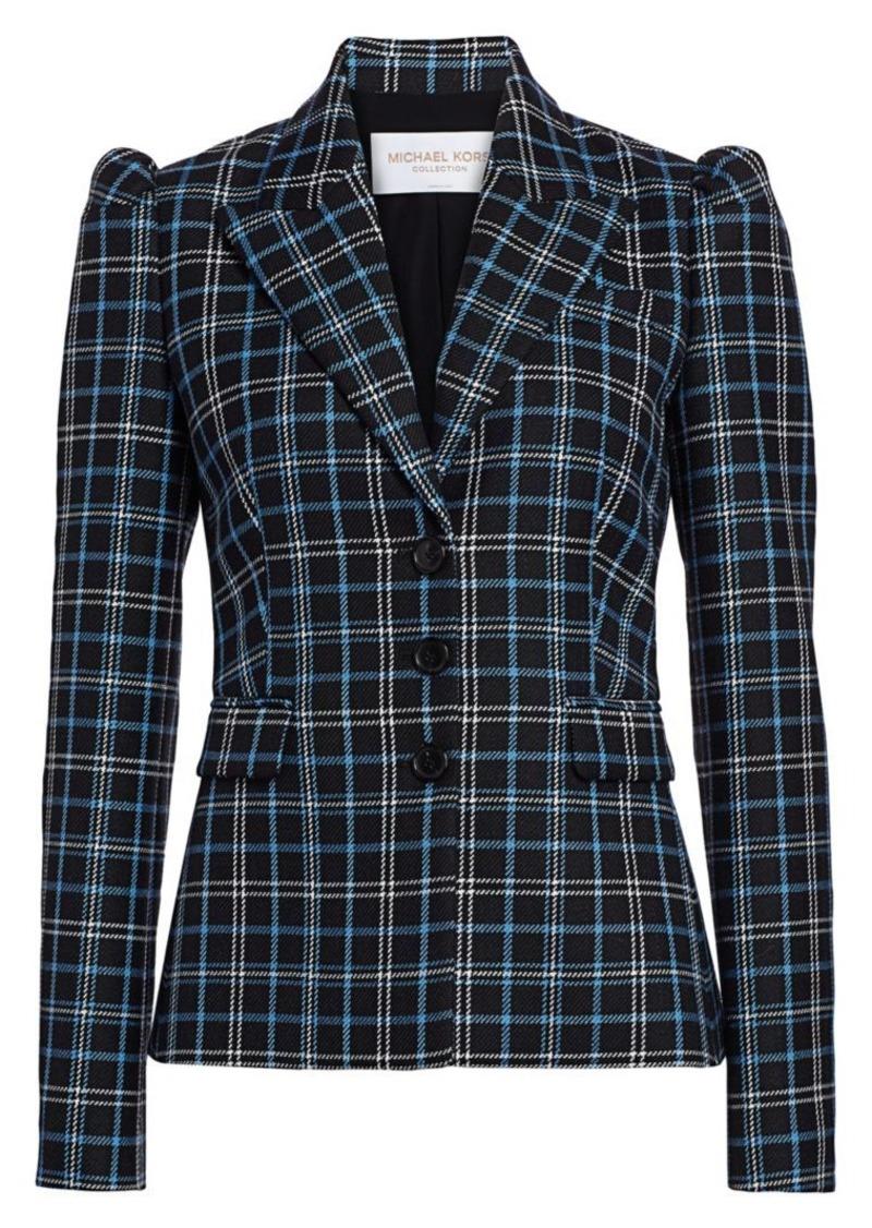Michael Kors Puff-Shoulder Virgin Wool Blazer