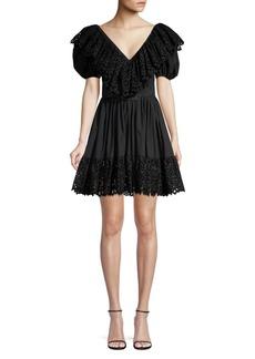 Michael Kors Puff Sleeve Belted Dress
