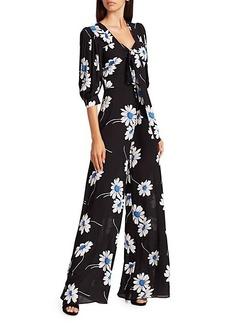 Michael Kors Puff-Sleeve Floral Silk Jumpsuit