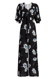 Michael Kors Puff-Sleeve Floral Silk Jumpsuit