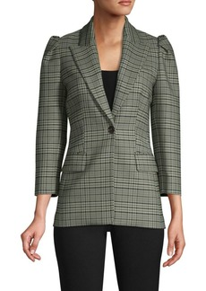 Michael Kors Puff-Sleeve Plaid Blazer