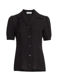 Michael Kors Puff-Sleeve Silk Blouse