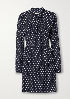 Michael Kors Pussy-bow Belted Printed Silk Mini Dress