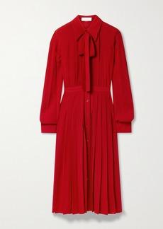 Michael Kors Pussy-bow Pleated Silk-crepe Midi Shirt Dress