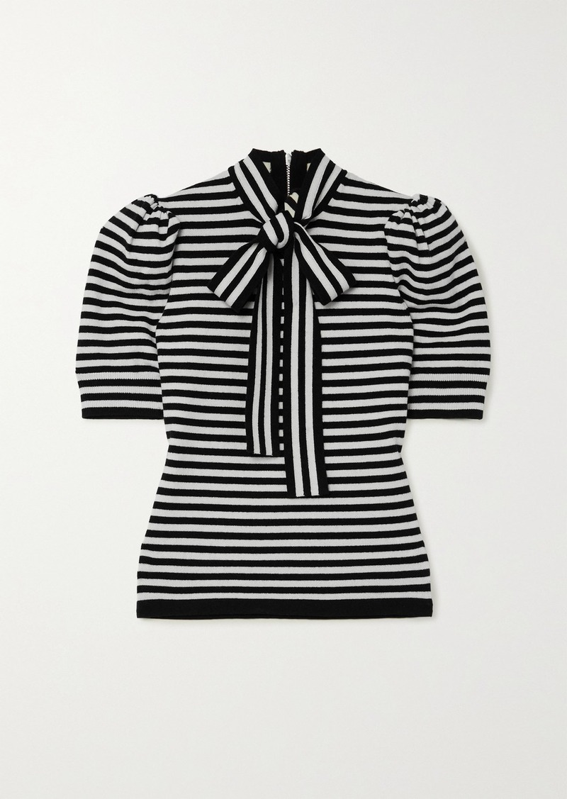 Michael Kors Pussy-bow Striped Cashmere-blend Top