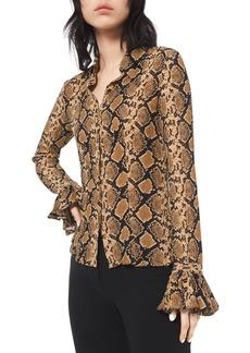 Michael Kors Python-Print Crushed Bell-Sleeve Shirt