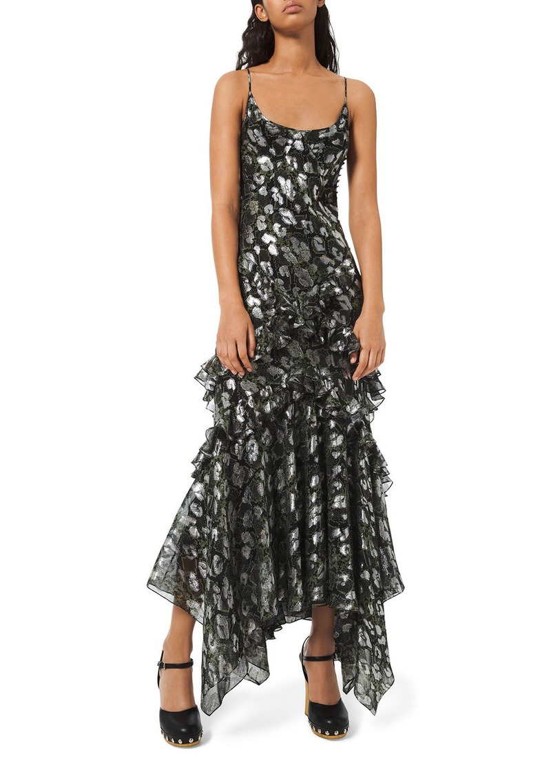 Michael Kors Python-Print Metallic Chiffon Dress
