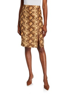Michael Kors Python-Print Pencil Skirt