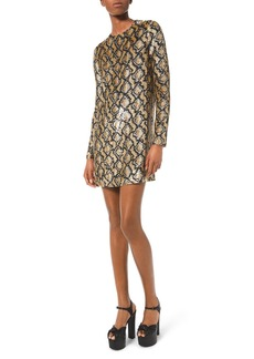 Michael Kors Python Sequined Cocktail Dress