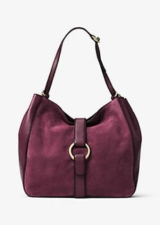 Michael Kors Quincy Large Suede and Leather Shoulder Tote