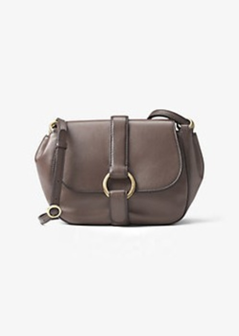 sale michael kors quincy medium leather saddlebag rh shopittome com