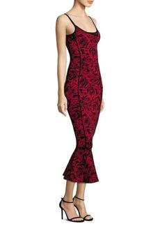 Rose Jacquard Flounce Dress