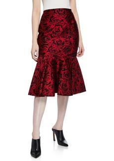 Michael Kors Rose Jacquard Mid-Rise Trumpet Skirt
