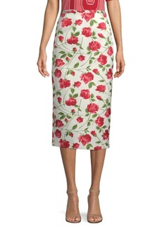 Michael Kors Rose Print Pencil Skirt