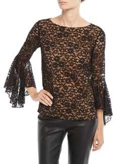 Michael Kors Round-Neck Bell-Sleeve Floral-Lace Top