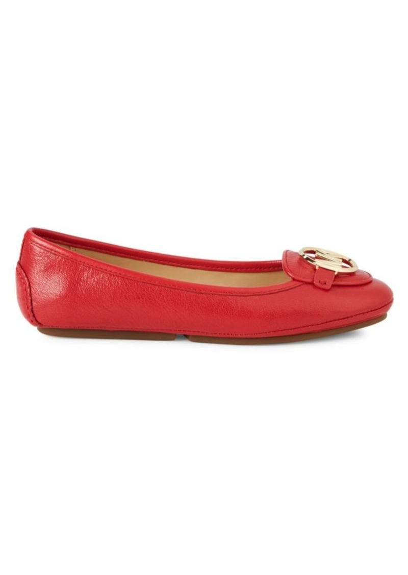 Michael Kors Round Toe Leather Ballet Flats