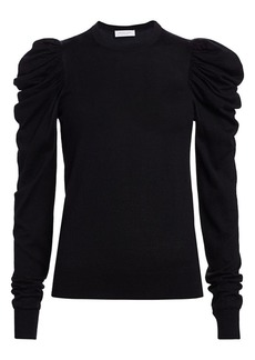 Michael Kors Ruched Puff-Sleeve Cashmere, Wool & Silk Knit Sweater