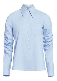 Michael Kors Ruched-Sleeve Poplin Button-Down Shirt