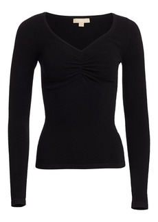 Michael Kors Ruched V-Neck Cashmere Sweater