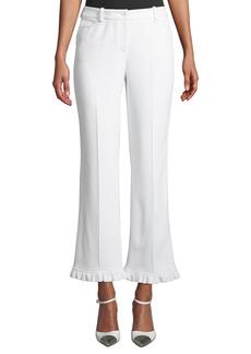 Michael Kors Ruffle-Hem Crepe-Sable Trouser Pants