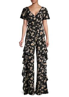 Michael Kors Ruffle-Trim Floral-Print Silk Jumpsuit