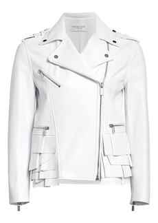 Michael Kors Ruffle-Trimmed Leather Moto Jacket
