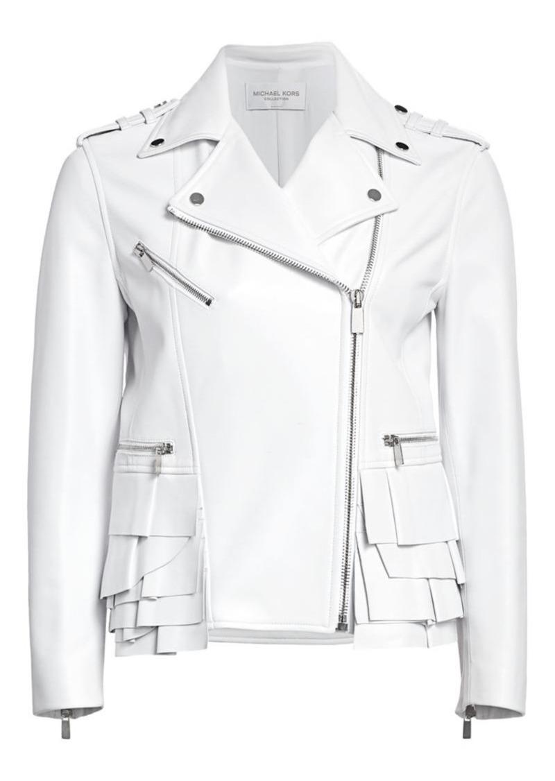 Michael Kors Ruffle-Trimmed Leather Moto Jacket