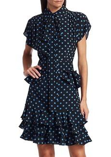 Michael Kors Ruffle-Trimmed Polka Dot Silk Dress